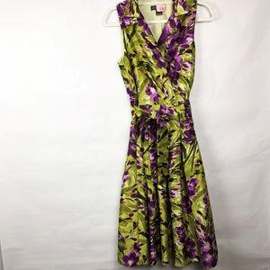 Jessica Howard Sleeveless Green and Purple Dress